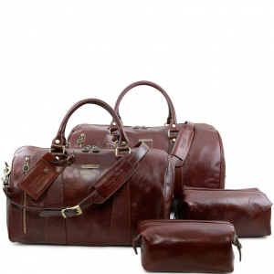 Tuscany Leather TL141256 Columbus - Leather travel set Brown