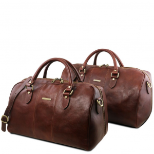 Tuscany Leather TL141659 Lisbona - Set da viaggio in pelle Marrone