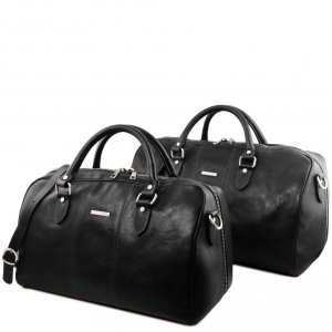 Tuscany Leather TL141659 Lisbona - Set da viaggio in pelle Nero