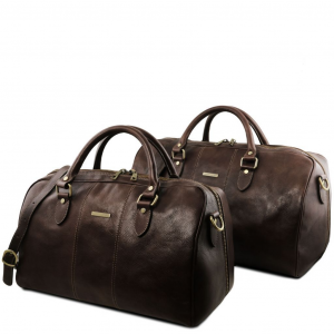 Tuscany Leather TL141659 Lisbona - Set da viaggio in pelle Testa di Moro