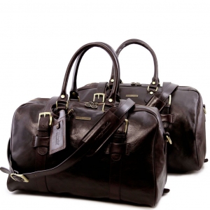 Tuscany Leather TL141257 Vespucci - Leather travel set Dark Brown