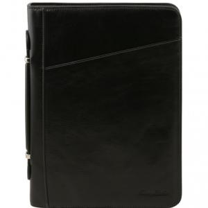 Tuscany Leather TL141295 Costanzo - Esclusivo portadocumenti in pelle con anelli e manico Nero