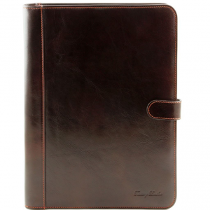 Tuscany Leather TL141275 Adriano - Porte documents en cuir avec fermerture à bouton Marron foncé