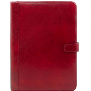 Tuscany Leather TL141275 Adriano - Porte documents en cuir avec fermerture à bouton Rouge