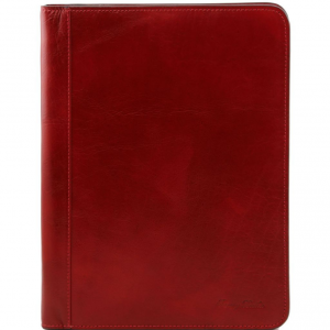 Tuscany Leather TL141293 Lucio - Exclusive leather document case with ring binder Red