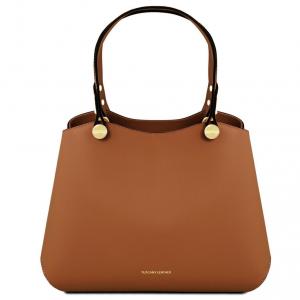 Tuscany Leather TL141684 Anna - Leather handbag Cognac