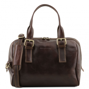 Tuscany Leather TL141714 Eveline - Leather duffle bag Dark Brown