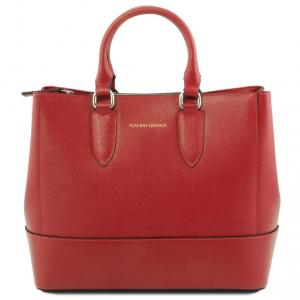 Tuscany Leather TL141638 TL Bag - Saffiano leather handbag Red