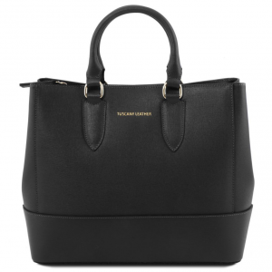 Tuscany Leather TL141638 TL Bag - Saffiano leather handbag Black