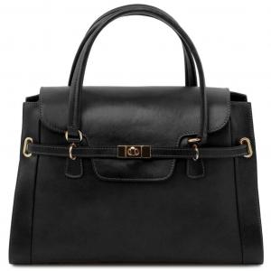 Tuscany Leather TL141230 TL NeoClassic - Borsa a mano in pelle con chiusura a girello Nero