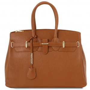 Tuscany Leather TL141529 TL Bag - Leather handbag with golden hardware Cognac