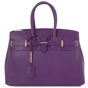 Tuscany Leather TL141529 TL Bag - Borsa a mano media con accessori oro Viola