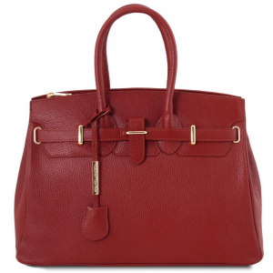 Tuscany Leather TL141529 TL Bag - Leather handbag with golden hardware Red