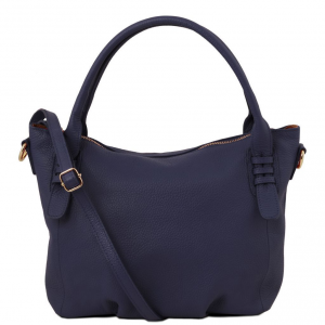 Tuscany Leather TL141705 TL Bag - Borsa a mano in pelle morbida Blu scuro