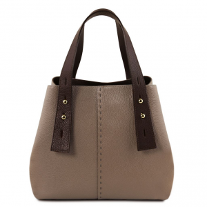 Tuscany Leather TL141730 TL Bag - Borsa shopping in pelle Talpa scuro