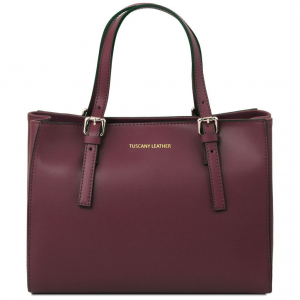Tuscany Leather TL141434 Aura - Leather handbag Bordeaux
