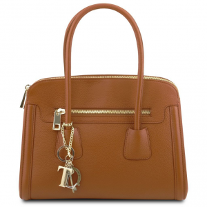 Tuscany Leather TL141285 TL Keyluck - Soft leather handbag Cognac