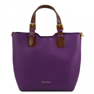 Tuscany Leather TL141696 TL Bag - Borsa a mano in pelle Saffiano Viola