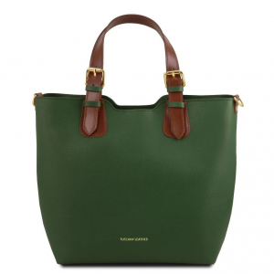 Tuscany Leather TL141696 TL Bag - Saffiano leather handbag Green