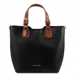 Tuscany Leather TL141696 TL Bag - Saffiano leather handbag Black