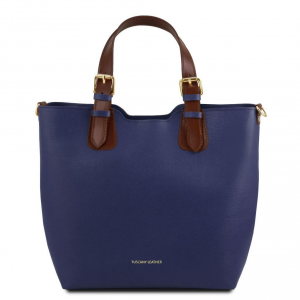 Tuscany Leather TL141696 TL Bag - Saffiano leather handbag Dark Blue