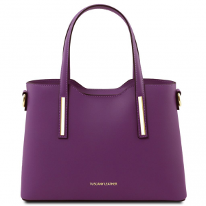 Tuscany Leather TL141521 Olimpia - Borsa shopper in pelle - Misura piccola Viola