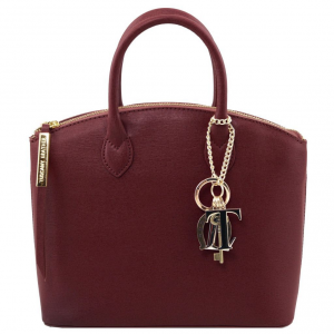 Tuscany Leather TL141265 TL KeyLuck - Saffiano leather tote - Small size Bordeaux