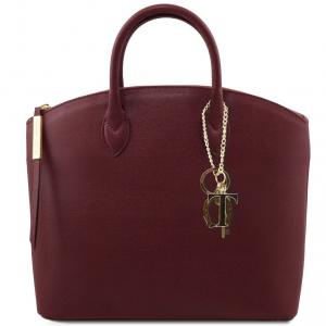 Tuscany Leather TL141261 TL KeyLuck - Borsa shopper in pelle Saffiano Bordeaux