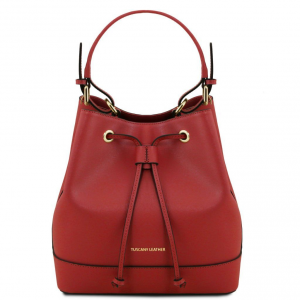 Tuscany Leather TL141436 Minerva - Saffiano leather secchiello bag Red