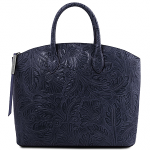 Tuscany Leather TL141670 Gaia - Leather tote with floral pattern Dark Blue