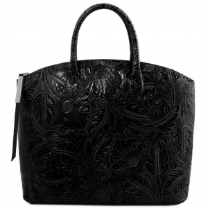 Tuscany Leather TL141670 Gaia - Leather tote with floral pattern Black