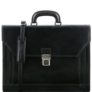 Tuscany Leather TL141348 Napoli - 2 compartments leather briefcase with front pocket Black