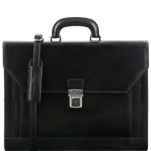 Tuscany Leather TL141348 Napoli - Cartable en cuir avec 2 compartiments et poche frontale Noir
