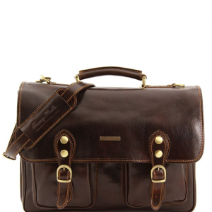 Tuscany Leather TL100310 Modena - Leather briefcase 2 compartments - Large size Dark Brown