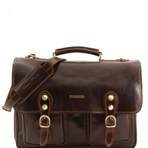 Tuscany Leather TL100310 Modena - Besace en cuir avec 2 compartiments - Grand modèle Marron foncé