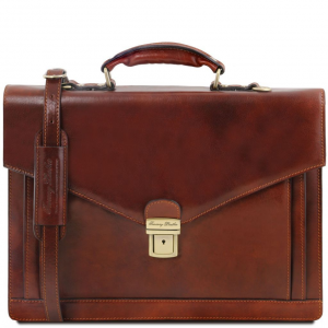 Tuscany Leather TL141544 Volterra - Cartella in pelle 2 scomparti con tasche Marrone