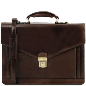 Tuscany Leather TL141544 Volterra - Leather briefcase 2 compartments Dark Brown