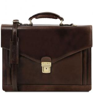 Tuscany Leather TL141544 Volterra - Cartable en cuir avec 2 compartiments Marron foncé