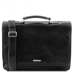 Tuscany Leather TL141450 Mantova - Leather multi compartment TL SMART briefcase with flap Black