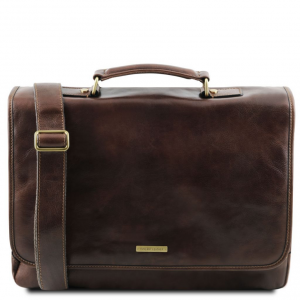 Tuscany Leather TL141450 Mantova - Leather multi compartment TL SMART briefcase with flap Dark Brown