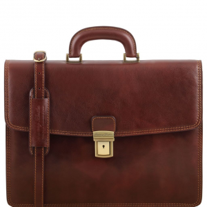 Tuscany Leather TL141351 Amalfi - Leather briefcase 1 compartment Brown