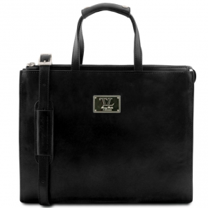 Tuscany Leather TL141343 Palermo - Leather briefcase 3 compartments for woman Black