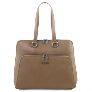Tuscany Leather TL141630 Lucca - TL SMART business bag in soft leather for women Dark Taupe