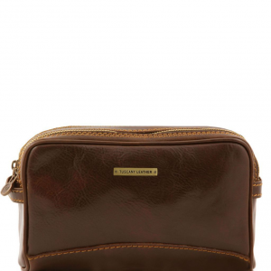 Tuscany Leather TL140850 Igor - Leather toilet bag Dark Brown