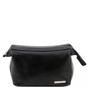 Tuscany Leather TL140979 Ronny - Leather toilet bag Black