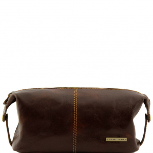 Tuscany Leather TL140349 Roxy - Leather toilet bag Dark Brown