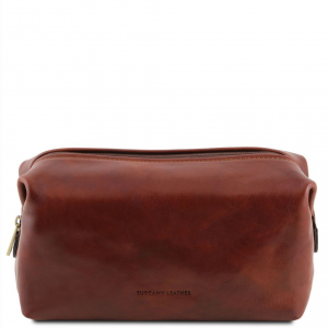 Tuscany Leather TL141220 Smarty - Leather toilet bag - Small size Brown