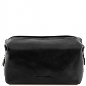 Tuscany Leather TL141219 Smarty - Leather toilet bag - Large size Black
