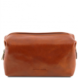 Tuscany Leather TL141219 Smarty - Leather toilet bag - Large size Honey