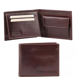 Tuscany Leather TL140763 Elégant portefeuille en cuir pour homme avec 3 volets et porte monnaie Marron foncé